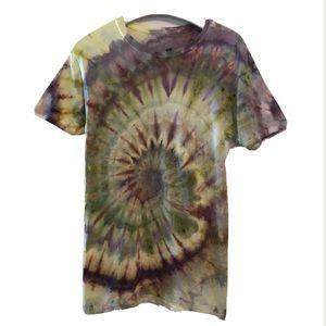 Tie Dye T-Shirt Spiral Small New Purple Green